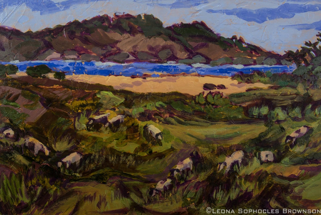 "Sheep at Mission Ranch | Acrylic on board | 12""x18"" unframed"