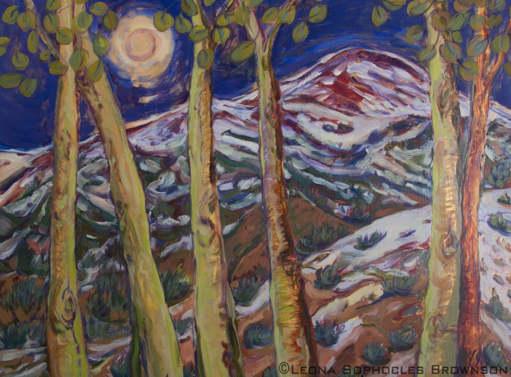 "Baldy by Full Moon | Oil on Board | 18""x24"" unframed"