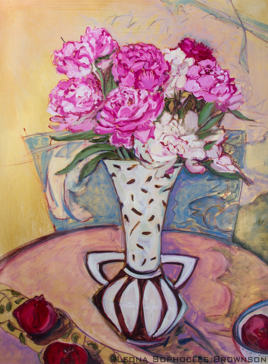 "Peonies #2; Still Live with Pomegranates | Oil on Primed, archival paper | 27""x35"" framed"