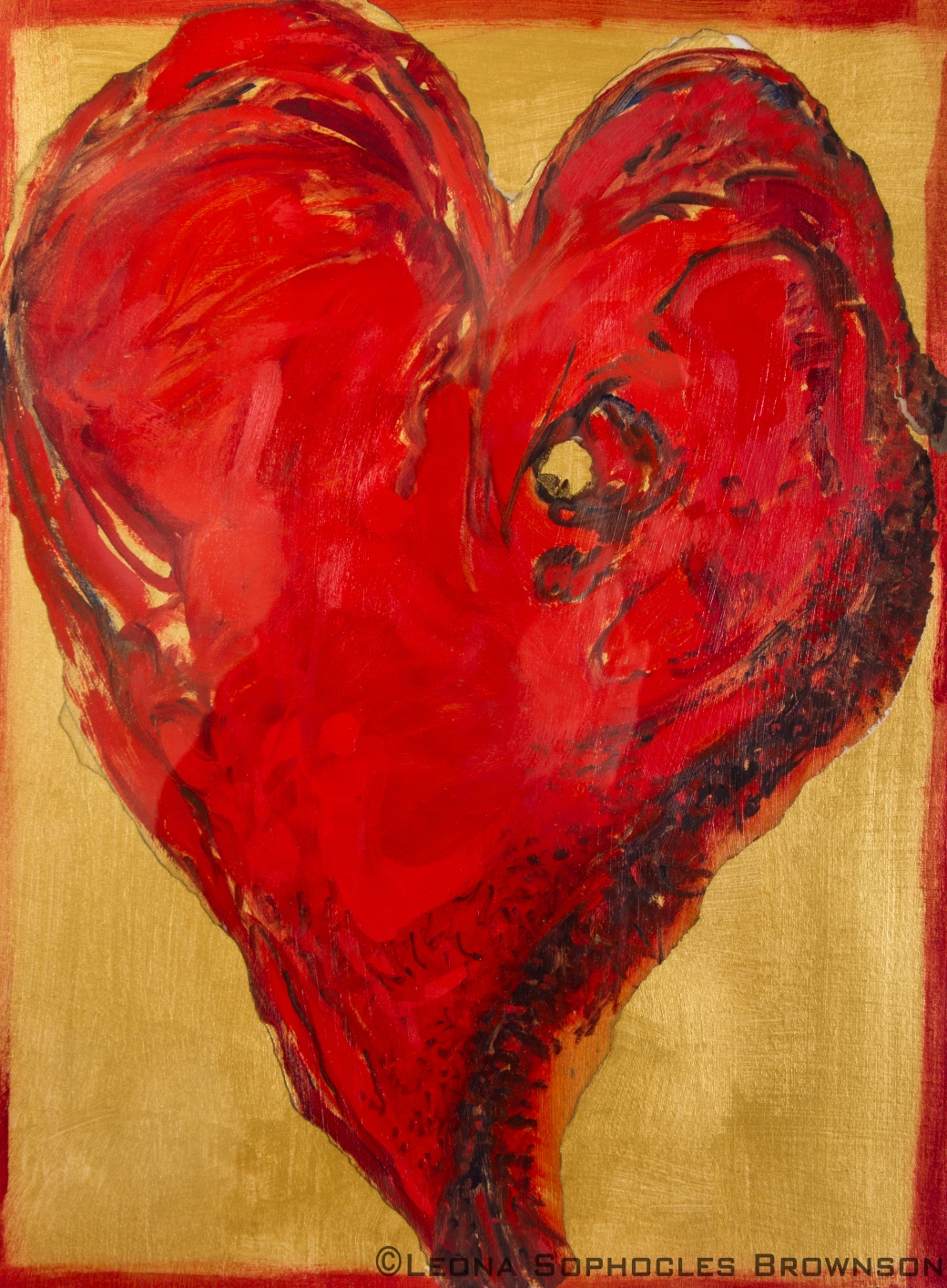 "Wounded Heart | Mixed Media | 17""x21"" framed"