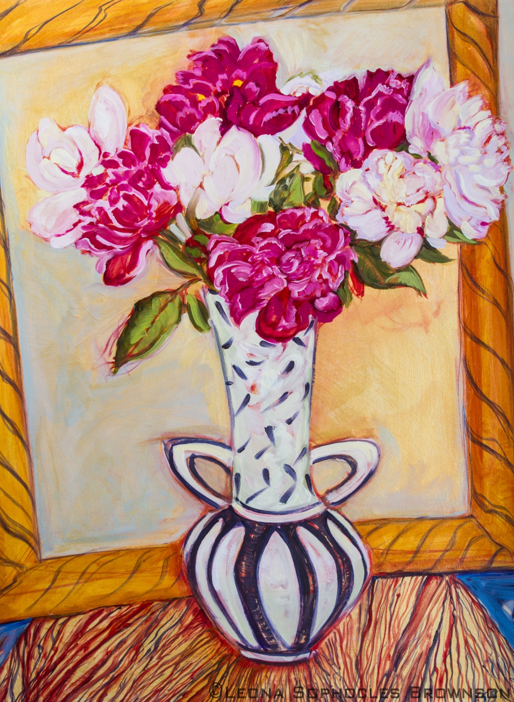"Peony Series #3 | Oil on primed, archival paper | 31""x39 framed"
