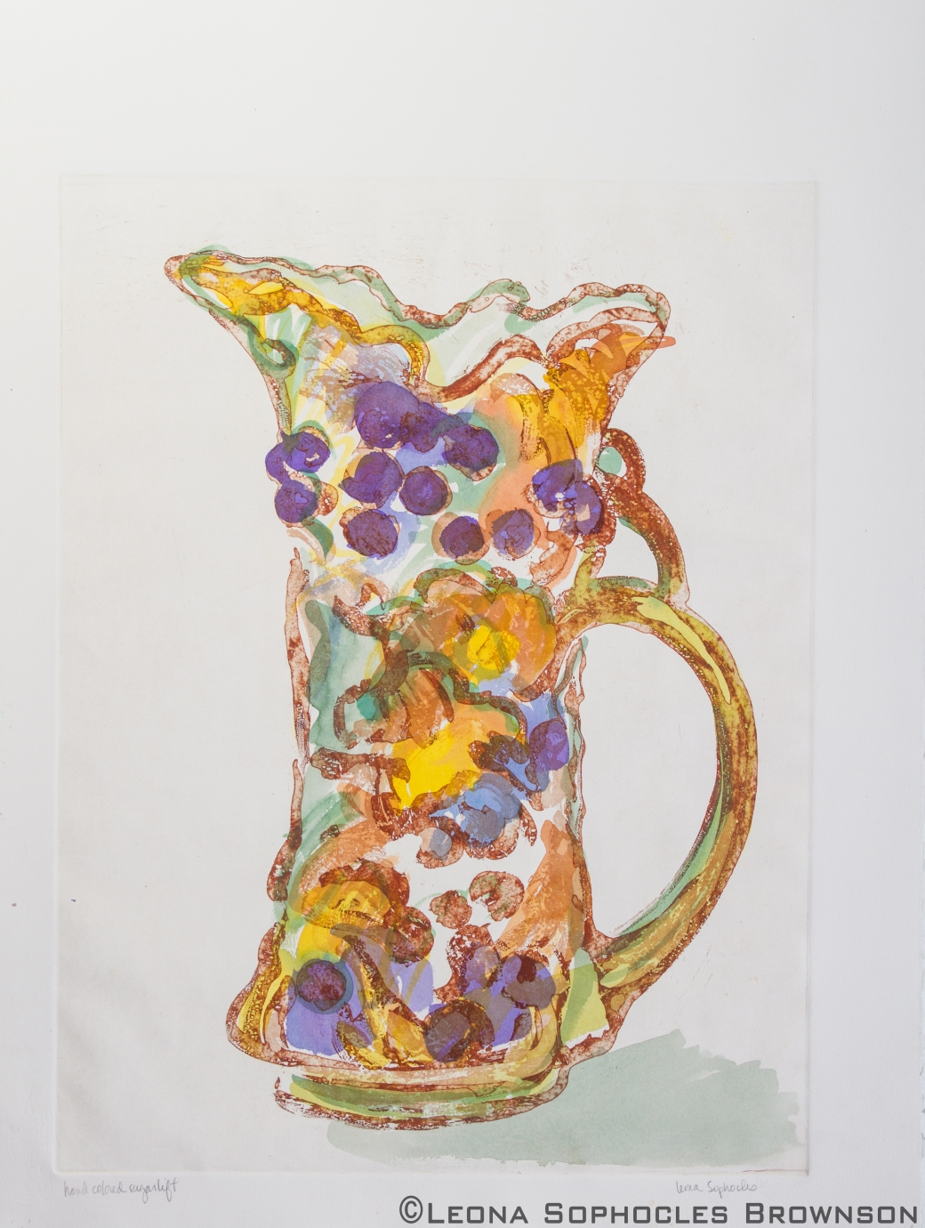 "Victorian Vase #1 | Hand colored etching | 22""x30"" unframed"