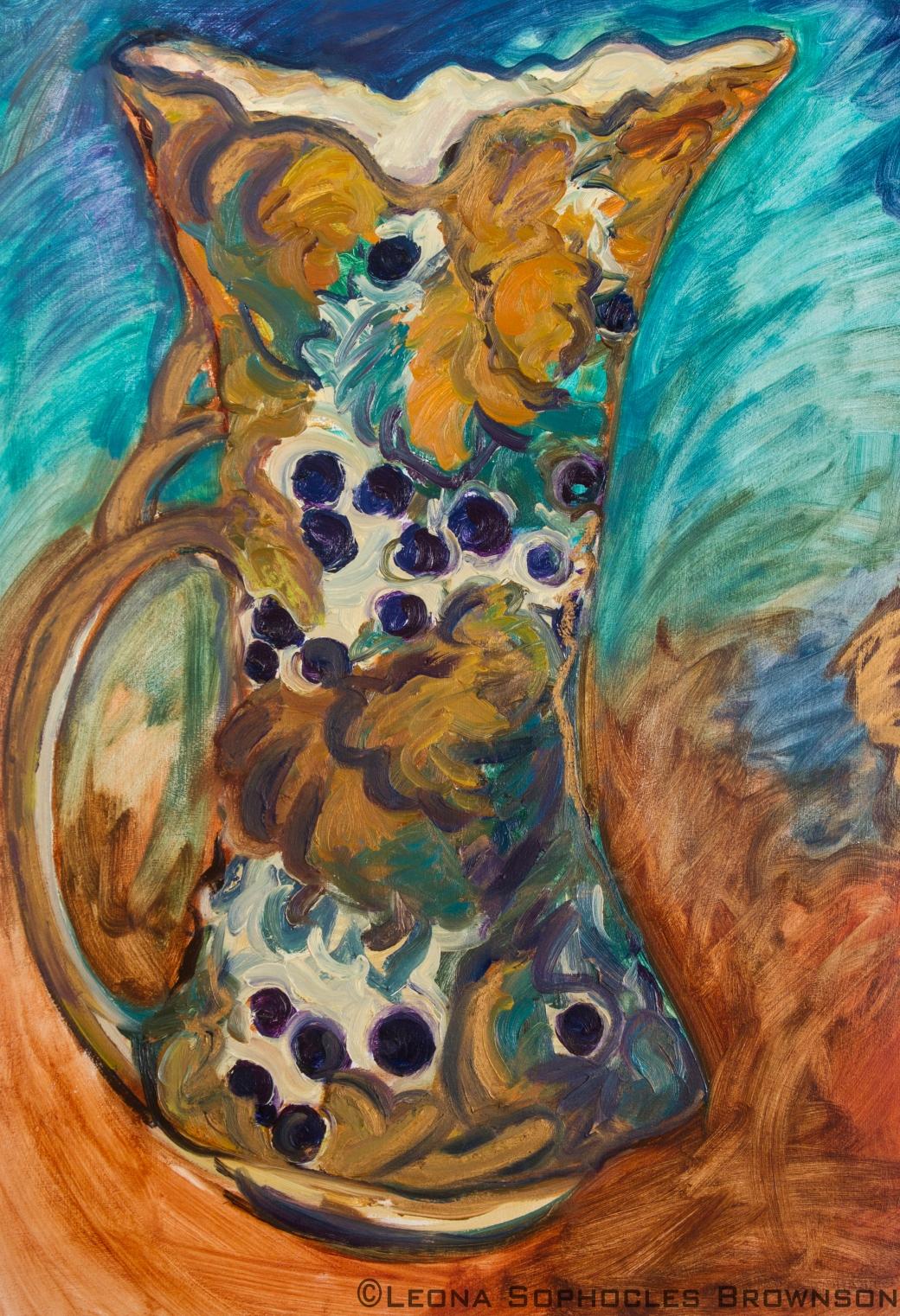 "Victorian Vase #3; Close Up   Oil on primed, archival paper   22""x30"" unframed"