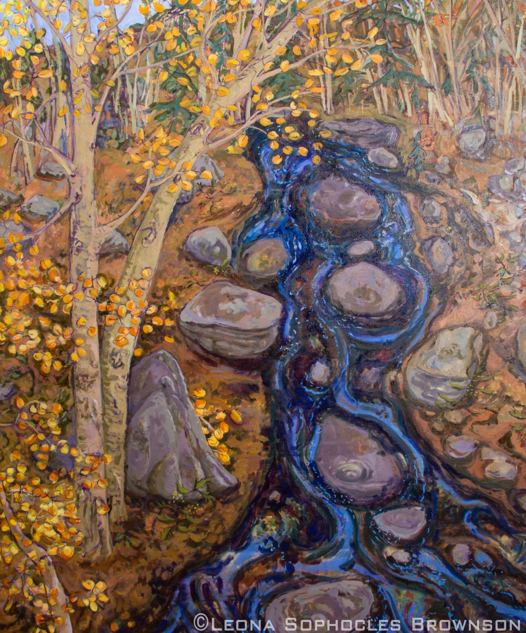 "Blue River Meandering | Oil on canvas | 56""x66"" unframed"