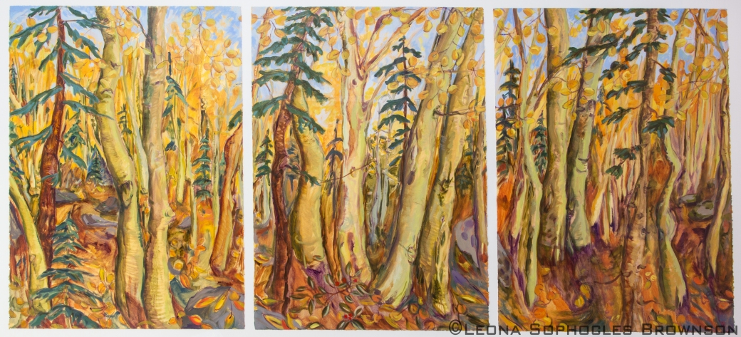 "Fall Season Triptych | Oil on primed, archival paper | 33""x77"" framed"
